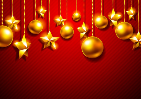 Golden Christmas balls on a red background Vector