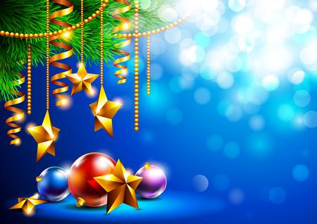 Fondo brillante de la Navidad con los juguetes de Navidad