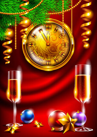 New Year background with a gold watch and champagne