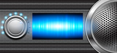 Metallic background with volume control and speaker Vector