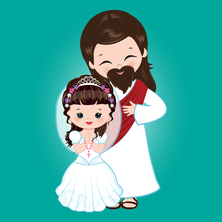 Vector - Illustration of Jesus Christ blessing a little girl receiving Holy Communion