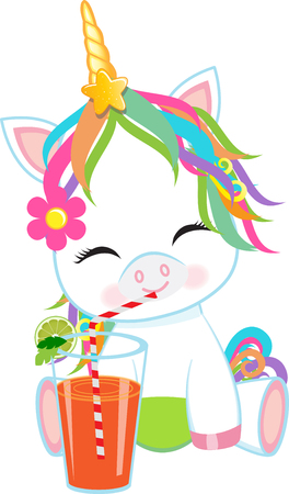 Vector - Illustration of a cute baby unicorn sipping soda Ilustração