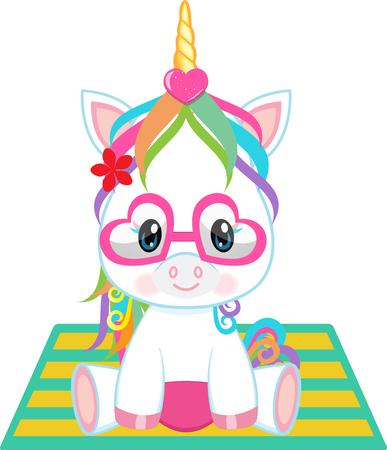 Vector - Illustration of a cute baby unicorn sitting on a beach mat
