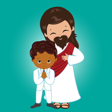 Vector - Illustration of Jesus Christ blessing a little boy receiving Holy Communion