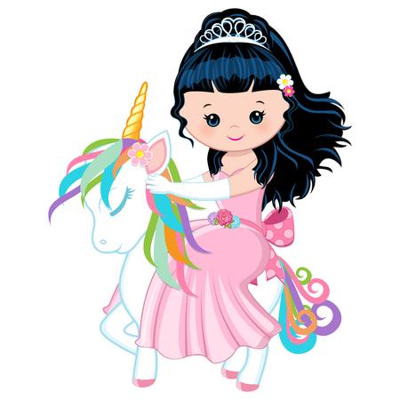 Archivio Fotografico - Illustrazione con una principessa che cavalca un unicorno