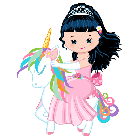 Vector - Illustration featuring a Princess riding a unicorn Vectores