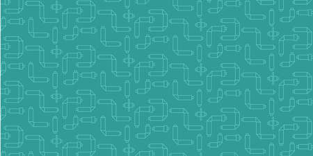 industrial fashionable seamless pattern with tubes on turquoise background in white color. Use for the design of booklets, banners, posters, branded gifts and products, corporate identity, logos