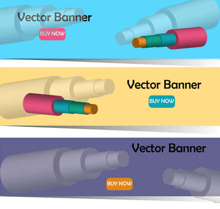 vector banners whith 3D image of steel pipes in foam insulation