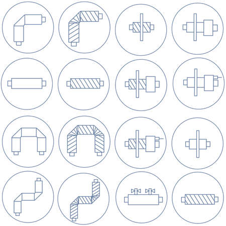 Icons of pipes in polyurethane foam insulation for websites, posters banners Illustration
