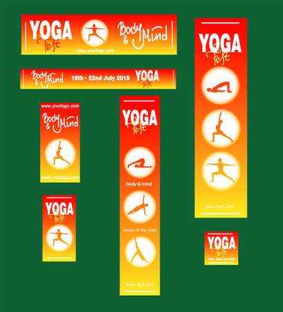 Set of posters and banners of the yoga festival, fitness training, sport event. Illustration