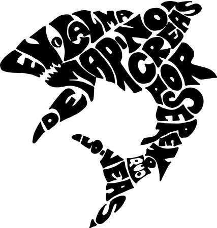 Proverb saying in shark form. Ilustração