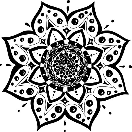 mandala like a flower. Black drawing on white background Vectores