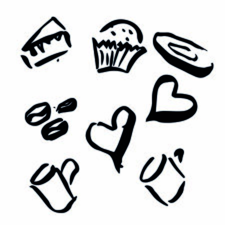 vector illustration, sketch of coffee, cake, cupcake, cup and heart