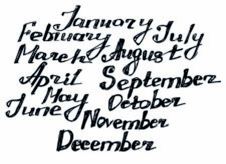 handlettering 12 monthses, English lettering of a year