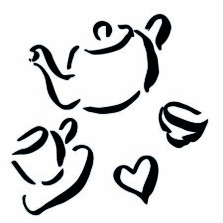 sketch of coffee, kettle, teapot, dummy, cup and heart Ilustracja