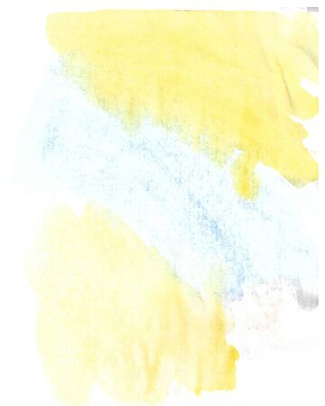 Watercolor blue and yellow abstract background. Hand made splashes on grainy textured paper.