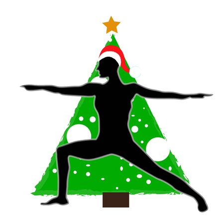 Christmas new year yoga asana on the background of the Christmas tree in the Santa Claus hat