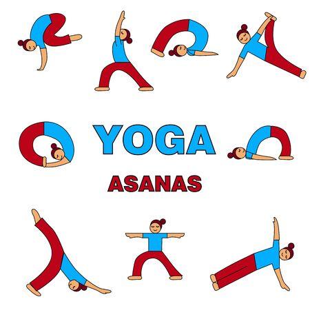 Yoga asanas icons illustration. 9 different poses. simple figure