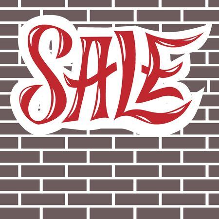 vector lettering composition sale whith red letters on the background of a grey brick wall with white cement mortar