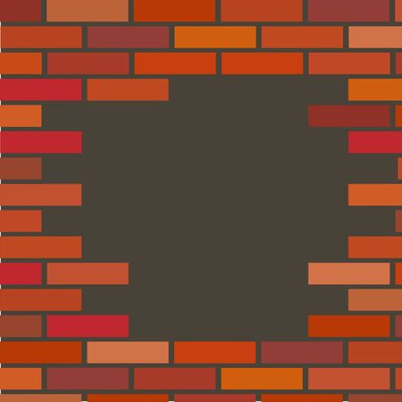 vector red brick wall with a hole. Illustration of a broken wall for building a house with fading defect