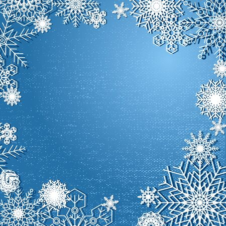 Blue Merry Christmas and New year decoration poster or flyer background whith snowflakes. Snowflake texture for decoration. template for Christmas banners, leaflets, invitations, greeting cards or for web
