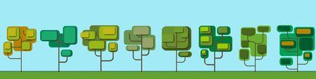 Set of vector cartoon green trees in paper cut