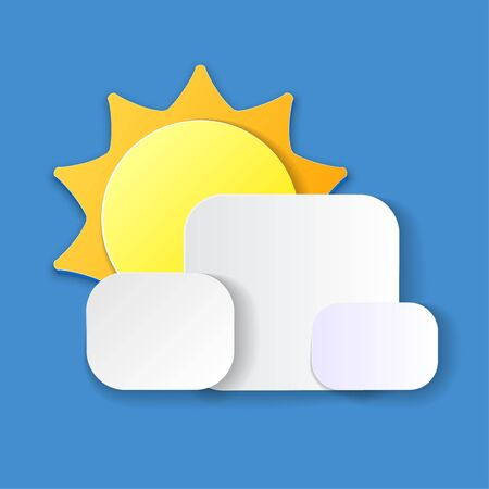Summer vector elements with paper cut flat folding style of sun, Cloudy isolated in blue background. Vector illustration.