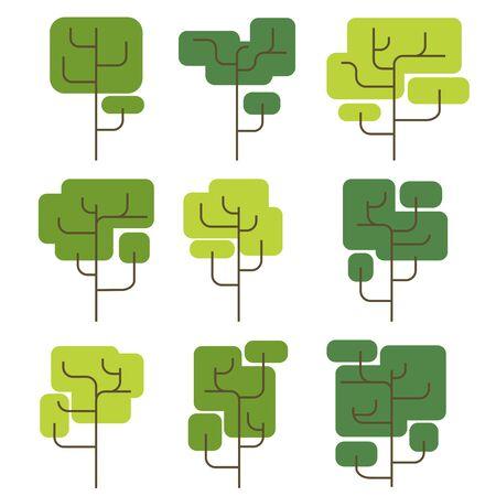 flat trees square shaped crown  イラスト・ベクター素材