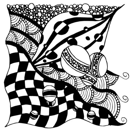 abstract drawing pattern, random set of lined elements, black and white abstraction of vertical layout, chess pattern in vector