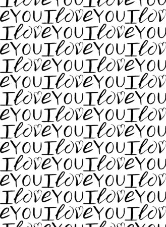vector seamless pattern of handlettering for valentine s day i love you  イラスト・ベクター素材