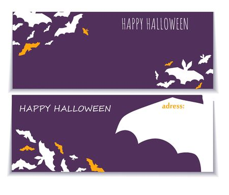 Halloween gorizontal background with pattern of bats. Flyer or invitation template for Halloween party. Vector illustration. Halloween party graphics design. Website spooky or banner template