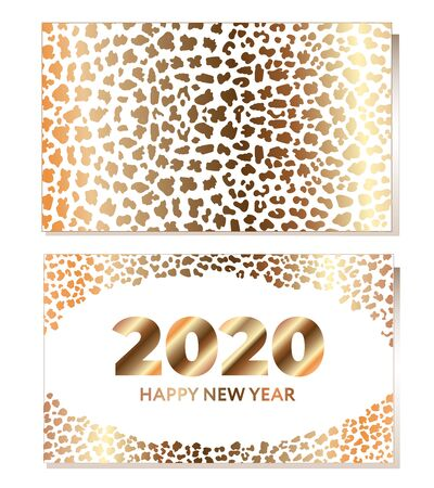 Vector illustration with GOLD PRINT LEOPARD. Place for text. New year concept. Template for flyer, poster, invitation, web, announcement. Flat and line style design