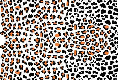 Ecological concept. Pattern leopard skin. Black and orange spots on the white background