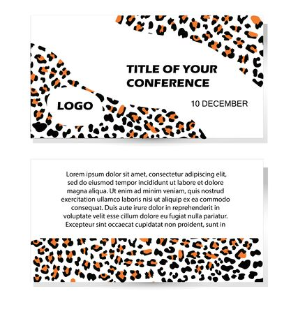 Vector illustration with pattern wild animal. Place for text. Ecological concept. Template for flyer, poster, invitation, web, announcement. Flat and line style design
