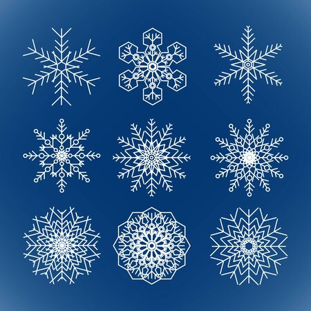 Set of vector snowflakes on blue background  イラスト・ベクター素材