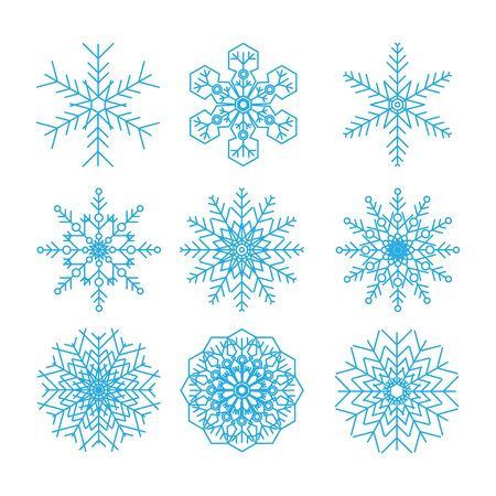 Set of vector snowflakes on white background
