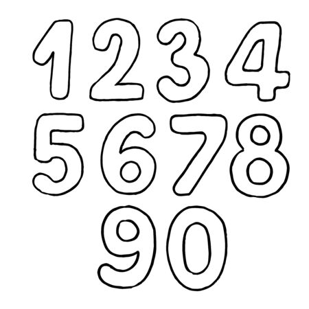 handdrawn isolated numbers from zero to nine, vector black thin line on a white background. monospaced characters with rounded edges. set of vector handwritten simbols. graphic elements for design