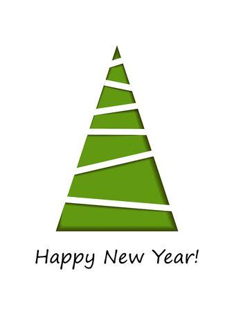 Ilustración de vector. Fondo abstracto de la tarjeta de felicitación del vector del árbol de Navidad. Feliz navidad y próspero año nuevo pino rojo de navidad