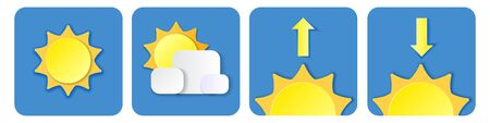 set of Simple weather icons. Summer vector elements with paper cut. sun, cloud and arrow down up isolated in blue background. Vector illustration. web and mobile app illustration. Modern 3d sunset  イラスト・ベクター素材