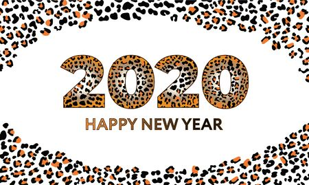Invitation New year 2020 numbers with Fashionable Leopard Pattern Black and orange gradient  イラスト・ベクター素材