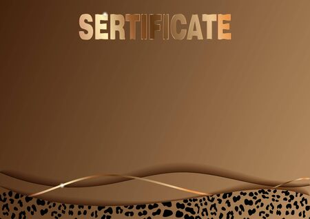 Sertificate Template with Fashionable Leopard Pattern. Vector illustration. Elegant template cards with gold leopard skin print. Brown and golden texure. Horizontal poster whith shine rich design