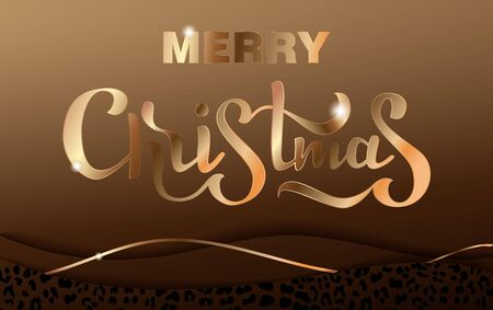 Vector illustration christmas lettering. Invitation Template whith 3d paper cut with Fashionable Leopard Pattern. Design for Greeting Postcard. Elegant template cards with gold texture and leopard ski