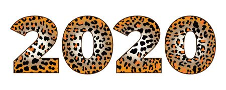 Vector illustration with print leopard. Ecological concept. Fashionable leopard print Safari texture. Conference Invitation New year 2020 numbers with Fashionable Leopard Pattern Black and orange
