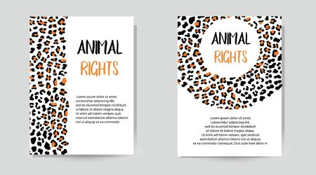 Vector illustration with print leopard. Ecological concept. Fashionable leopard print invitation cards with Safari texture. Conference Invitation Template with Fashionable Leopard Pattern