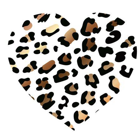 wild heart leopard. Fashion Vector illustration heart shape. Heart with lion shining print texture pattern. rich golden exotic panther animal skin texture. Trendy animal print. Jiraffe spots  イラスト・ベクター素材