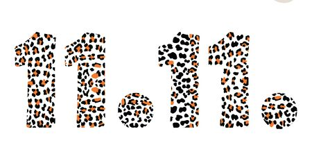 Vector illustration with leopard numbers 11.11 for World Shopping Day on white background. date 11.11 for global big Sale with leopard print. Design for Novembers Chinese shopping. Singles day sale  イラスト・ベクター素材