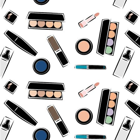 Pattern with images of cosmetics, cosmetics for skin care, decorative cosmetics, in the . Sketch image style