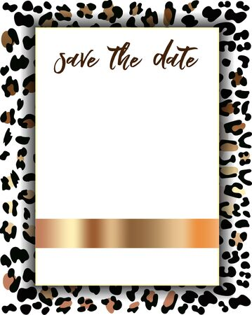 Wedding Invitation Template with Fashionable Leopard Pattern