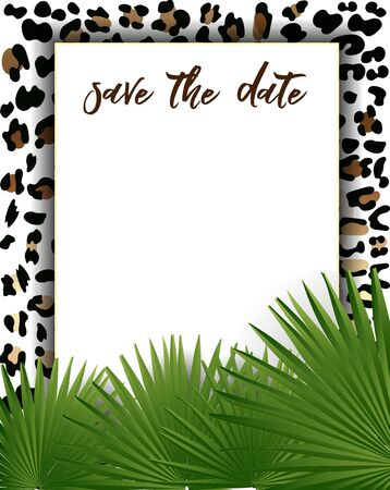 Wedding Invitation Template with Fashionable Leopard Pattern with green leaves