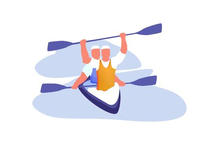 Water team Sports, Active Recreation Flat Vector Concepts Isolated on White Background. Boat, Kayaking, Canoeing and Paddling Illustration. Kayaking Sport Competition. Sportsmen Rowing in Kayak